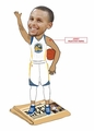 "Stephen Curry (Golden State Warriors - Real Polyester Jersey) 2015 NBA MVP Newspaper Base CLARKtoys.com Exclusive 10"" Bobblehead #/500"