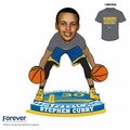 Stephen Curry (Golden State Warriors) Two Ball Dribbling/Pregame Warm-up (T-Shirt) Road Blue Shorts Exclusive Bobble Head by Forever Collectibles #/180