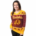 Washington Redskins 2016 Big Logo Women's V-Neck Ugly Sweater by Forever Collectibles