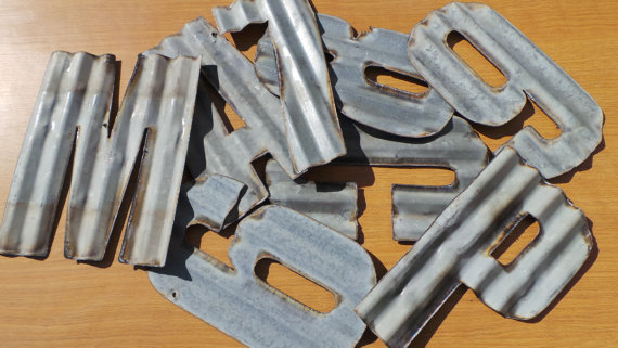 10 in. Recycled Corrugated Metal Letters A-Z
