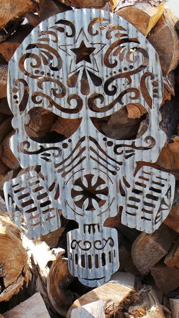Corrugated Metal Sugar Skull Day Of The Dead Wall Hanging