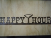 Rusted Metal Happy Hour with Martini Sign