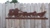 Rusted  Metal Stagecoach Silhouette Wall Hanging