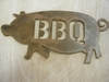 Small Rusted Metal BBQ Pig Sign