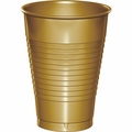 Glittering Gold Plastic Cups 12 oz. Solid 240ct