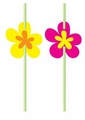 Luau Flower Straws with Attachments 72ct