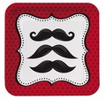 "Mustache Madness 7"" Lunch Plates Square 96ct"