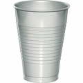 Shimmering Silver Plastic Cups 12 oz. Solid 240ct