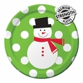 "Snowman Dots 7"" Lunch Plates Big Value 600ct"
