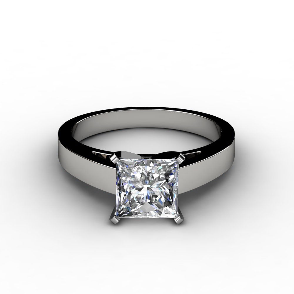 Flat Edge Princess Cut Engagement Ring