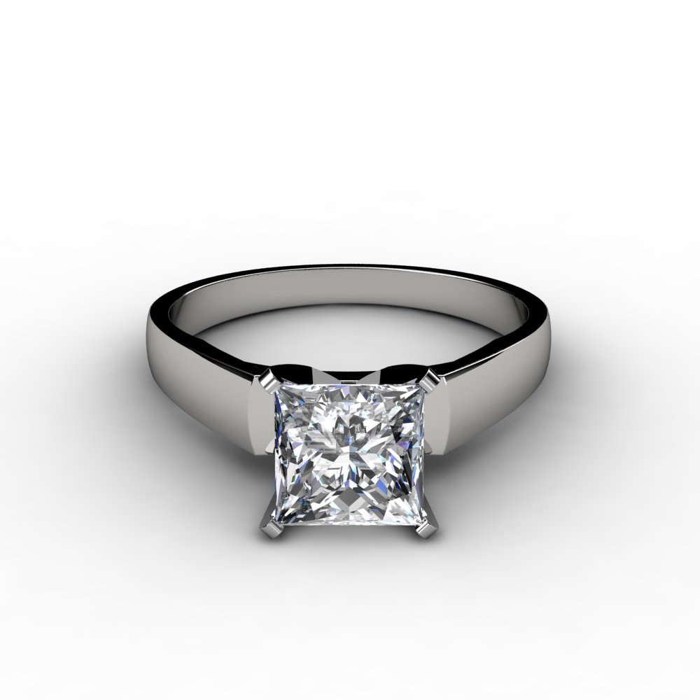 Flat Edged Princess cut diamond engagement ring
