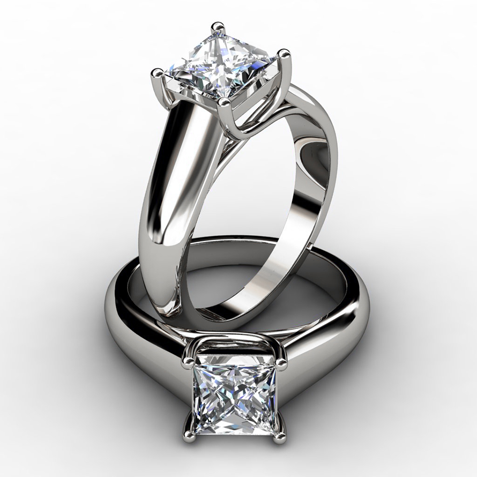 Lucida Wide Band Princess Cut Solitaire Engagement Ring