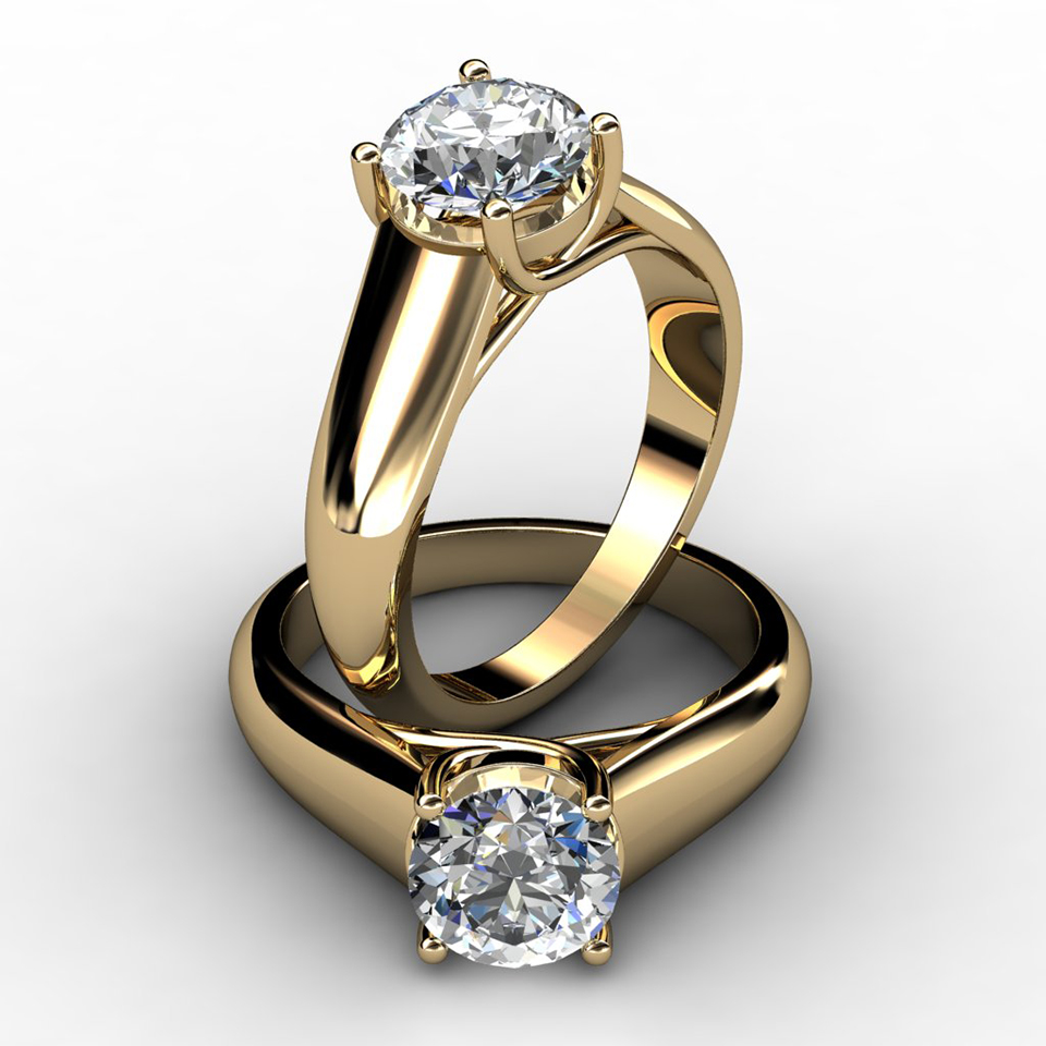 lucida with band engagement ring