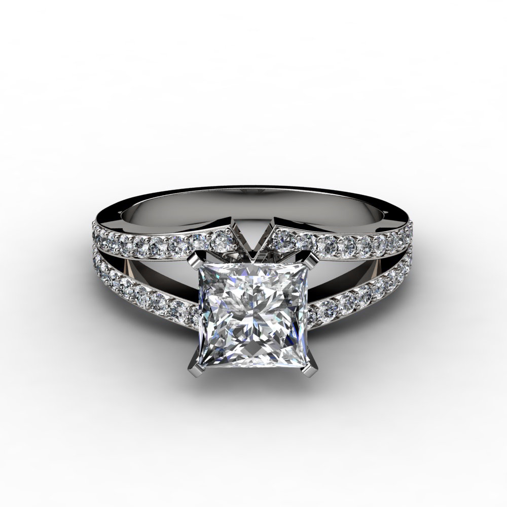 split shank princess cut engagement ring