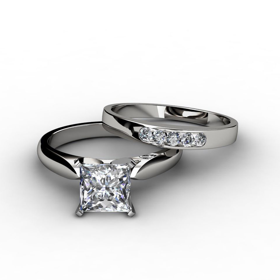 Tapered Cathedral Princess Cut Engagement Ring  Wedding Band Set