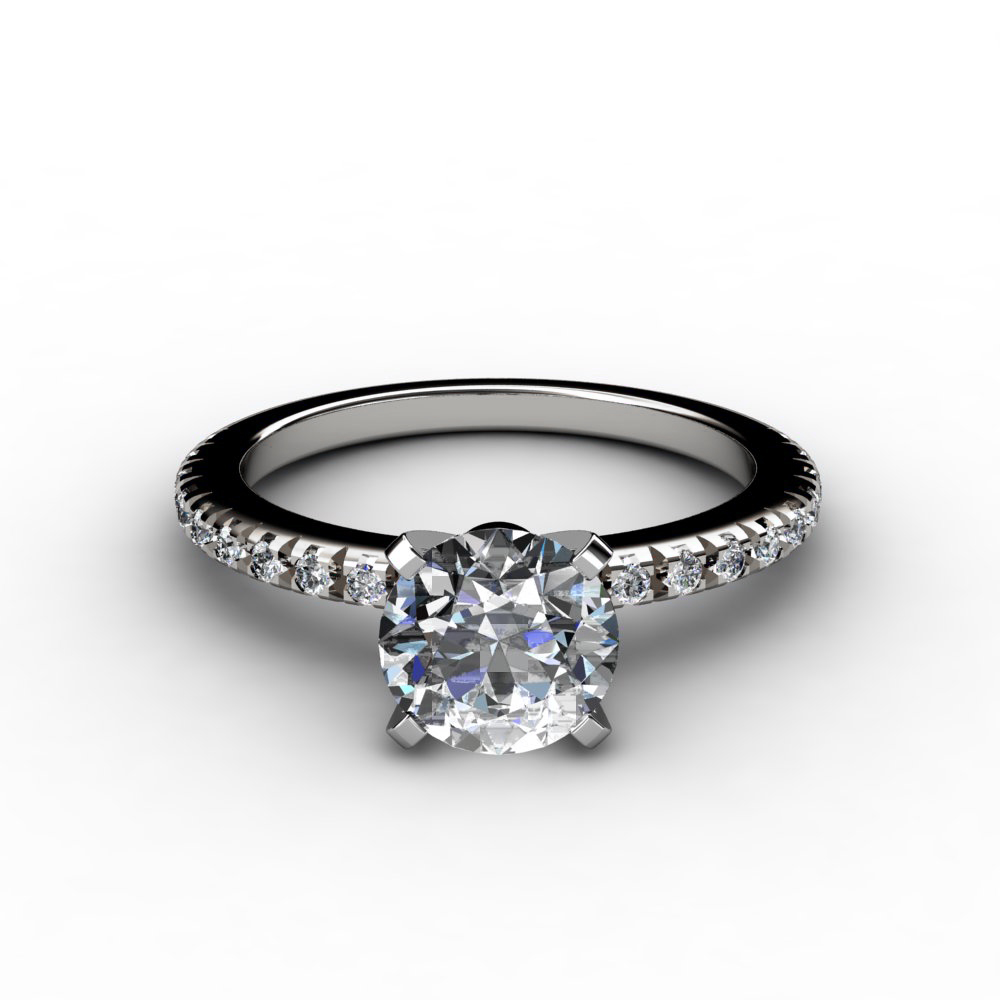 thin cut pave setting engagement ring