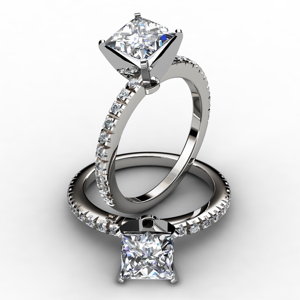 cut pave engagement ring