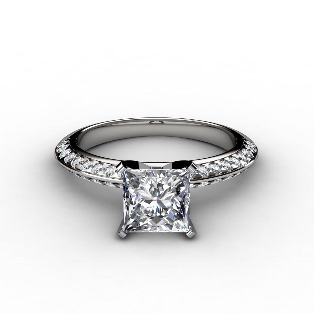 knife edge pave princess cut engagement ring