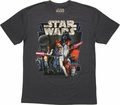 Star Wars New Hope Vintage Heathered Navy T Shirt Sheer