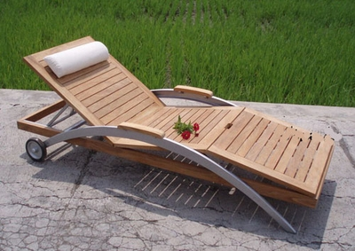 The Bekasi Collection Commercial Teak Chaise Lounge