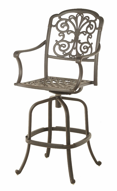 The Boyton Collection Commercial Cast Aluminum Swivel Bar Height Chair