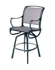 The Bessa Collection Commercial Cast Aluminum Sling Swivel Bar Height Chair