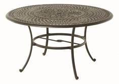 "The Boyton Collection Commercial Cast Aluminum 54"" Round Dining Table With Inlaid Lazy Susan"