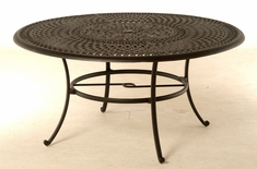 "The Boyton Collection Commercial Cast Aluminum 60"" Round Dining Table With Inlaid Lazy Susan"