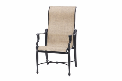 The Brielle Collection Commercial Cast Aluminum Sling High Back Stationary Dining Chair
