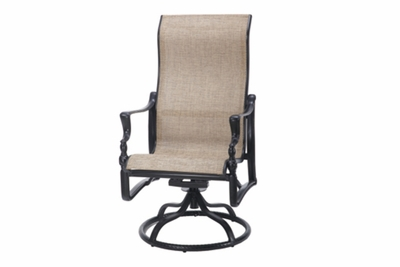 The Brielle Collection Commercial Cast Aluminum Sling High Back Swivel Dining Chair