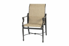 The Brielle Collection Commercial Cast Aluminum Sling Standard Back Stationary Dining Chair