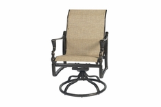 The Brielle Collection Commercial Cast Aluminum Sling Standard Back Swivel Dining Chair