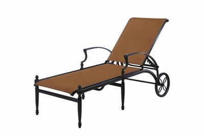 The Brielle Collection Commercial Padded Sling Cast Aluminum Chaise Lounge