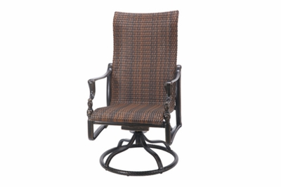 The Brielle Collection Commercial Wicker High Back Swivel Dining Chair