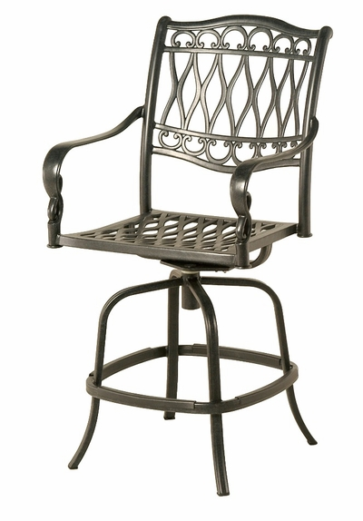 The Carrington Collection Commercial Cast Aluminum Swivel Bar Height Chair