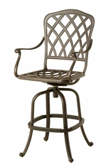 The Cason Collection Commercial Cast Aluminum Swivel Bar Height Chair
