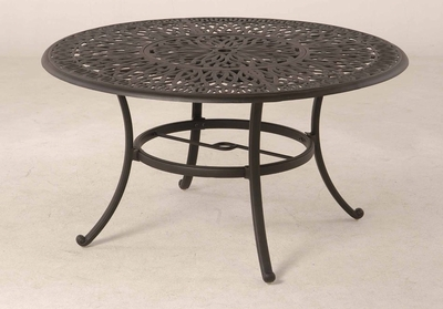 "The Del Mar Collection Commercial Cast Aluminum 54"" Round Dining Table With Inlaid Lazy Susan"