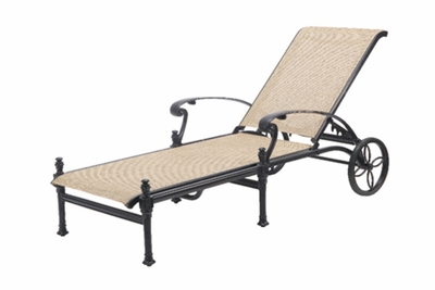 The Floria Collection Commercial Cast Aluminum Sling Chaise Lounge