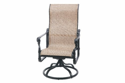 The Floria Collection Commercial Cast Aluminum Sling High Back Swivel Dining Chair