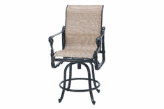 The Floria Collection Commercial Cast Aluminum Sling Swivel Counter Height Chair