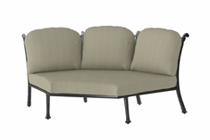 The Floria Collection Commercial Cast Aluminum Three Back Stationary Corner Chair