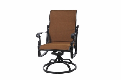 The Floria Collection Commercial Padded Sling Standard Back Swivel Dining Chair