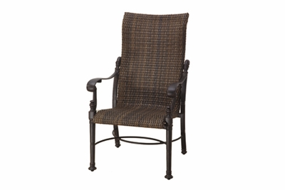 The Floria Collection Commercial Wicker High Back Stationary Dining Chair