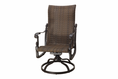 The Floria Collection Commercial Wicker High Back Swivel Dining Chair