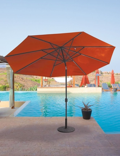 The Galtech Collection 8' x 11' Oval Wood Market Patio Umbrella