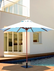 The Galtech Collection 9' Quad Pulley Teak Market Patio Umbrella