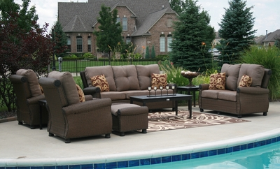 The Giovanna Collection 9-Piece All Weather Wicker/Cast Aluminum Patio Furniture Deep Seating Set