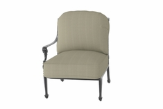 The Grandville Collection Commercial Cast Aluminum Right Arm Stationary Club Chair