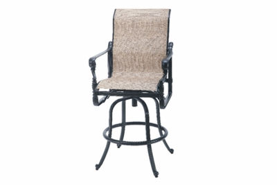 The Grandville Collection Commercial Cast Aluminum Sling Swivel Bar Height Chair