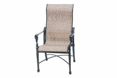 The Grandville Collection Commercial Cast Aluminum Sling High Back Stationary Dining Chair
